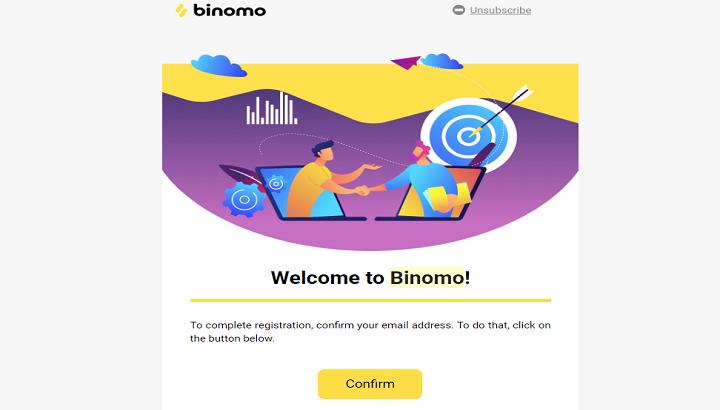 Konfirmasi Email Pendaftaran binomo