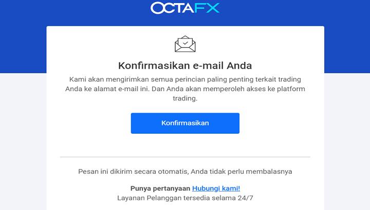 Konfirmasi Email Akun OctaFX